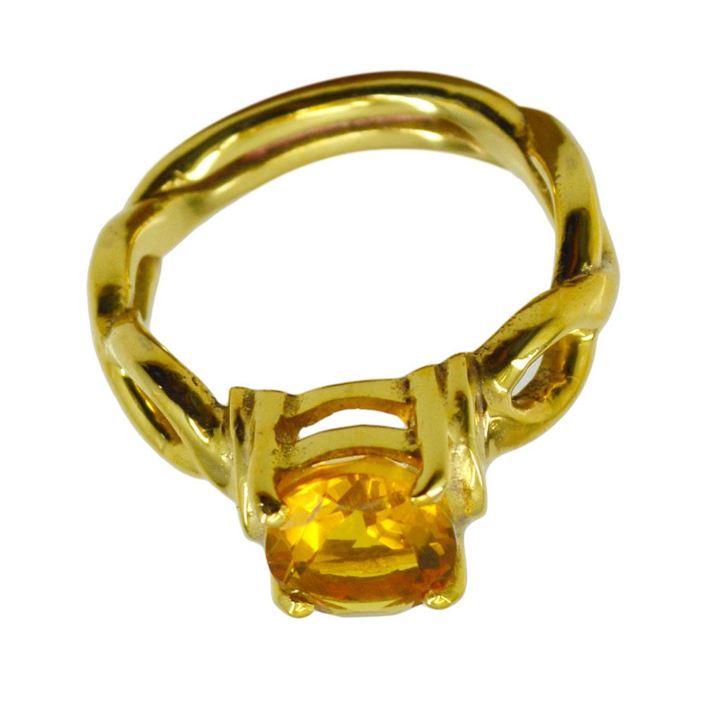 Citrine Cubic Zircon Yellow Gold Plated Ring For Women Chakra Healing Round Shape Size 5,6,7,8,9,10,11,12