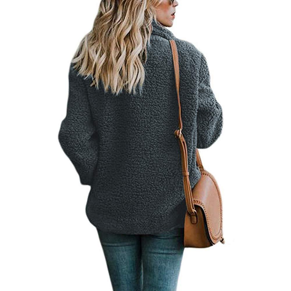 Asskdan Women's Open Front Fuzzy Cardigan Warm Fleece Jacket Coat Long Sleeve Oversized Coat Outwear with Pockets (Dark Grey, L) by Asskdan (Image #3)