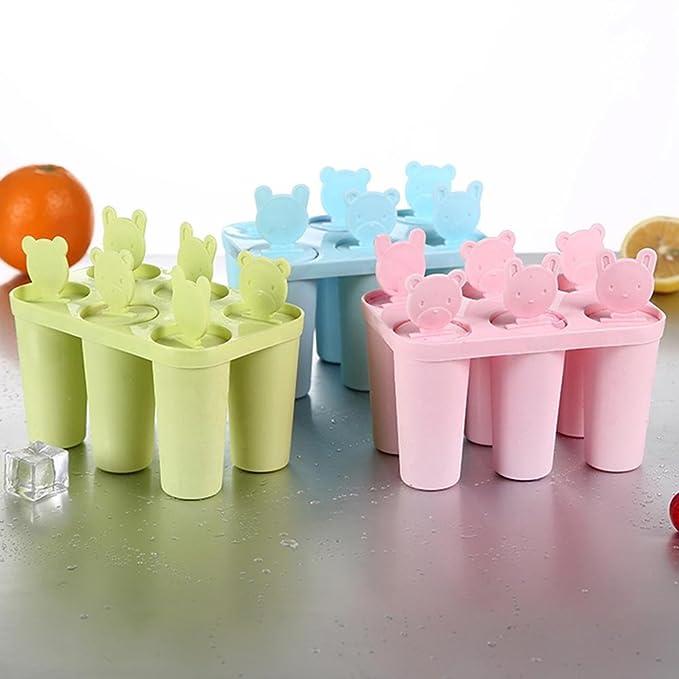 Compra Pawaca Bear Molde de 6 redondos para polos de hielo, helado, helado, helado, yogurt congelado, palo de leche, con tapa y base en Amazon.es