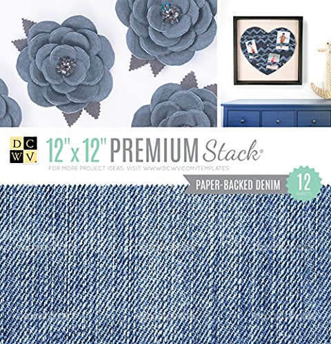 - American Crafts 12 x 12 Inch Paper Backed Denim Premium 12 Sheets Die Cuts with a View Stacks