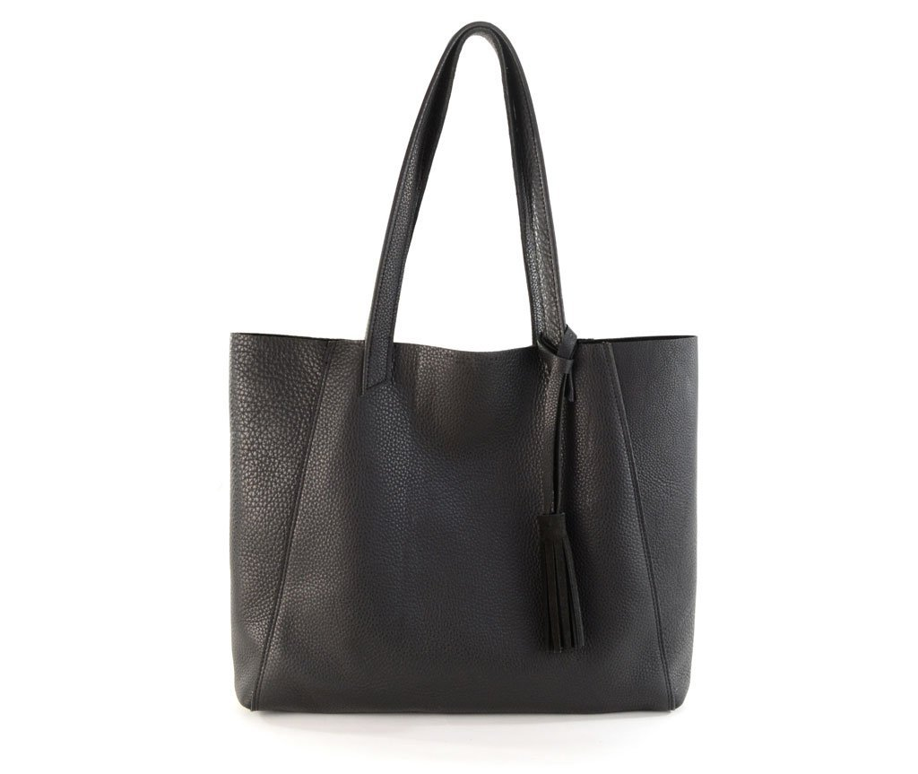 June Tote Black- All Leather