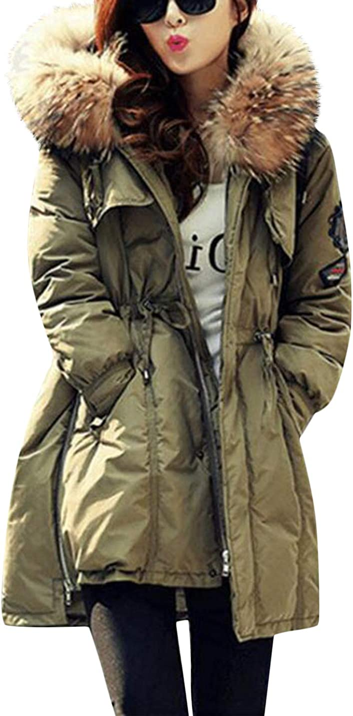 Tanming Womens Winter Thicken Zip Hooded Down Coat Parka Jacket with Fur Trim