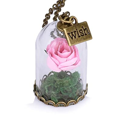 2b703d652e Amazon.com: Womens Girls Handmade Beauty and the Beast Belle Cosplay Rose  in Dome Glass Pendant Necklace Chain with Wish Charm (Pink): Jewelry