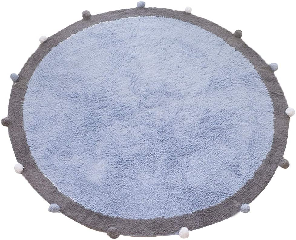 Mojesse 100% Cotton Kids Round Ball Rug 4ft for Boys and Girls, Very Soft Kids Crawling Carpet Play Mat,Suitable for Children's Rooms Decor, Nursery Door Mat Photography Props