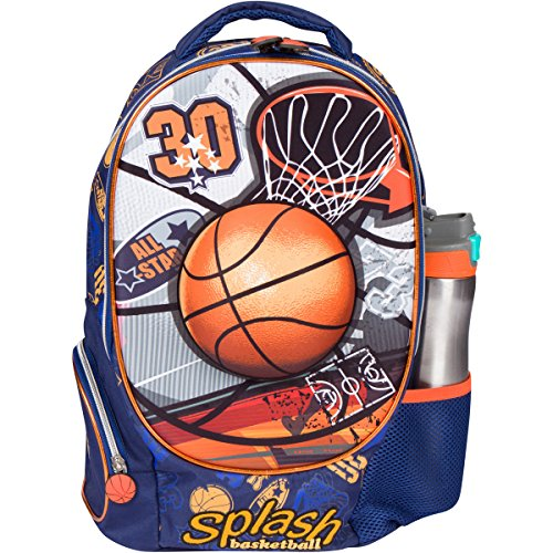 MB ALL-STAR - Kids Backpack with 3D Basketball Design Elementary School Book Bag for Boys - Large Compartments and Side Pockets - Durable with Padded Bottom ()