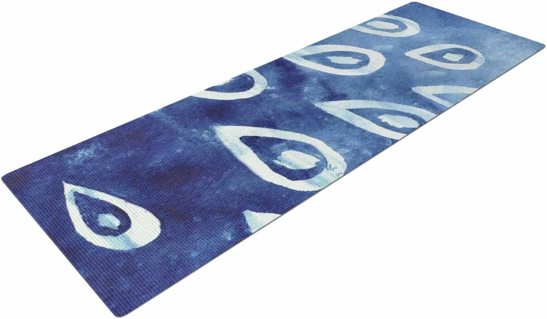 KESS InHouse Jennifer Rizzo Drops of Vintage Indigo Blue White Yoga Mat 72 X 24
