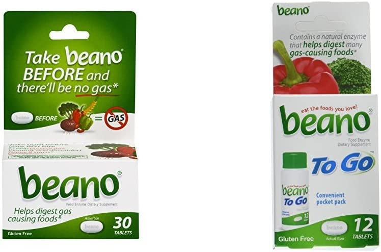 Beano Food Enzyme Dietary Supplement, 30 Tablets and To Go Pocket Pack of 12 Tablets