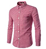 NUTEXROL Men Plaid Cotton Casual Slim Fit Long Sleeve Button Down Dress Shirts Red XX-Large