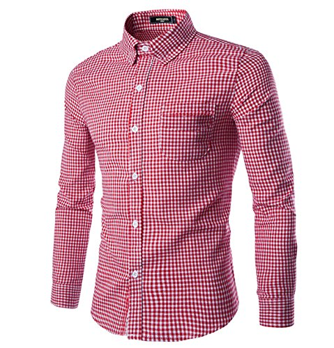 (NUTEXROL Men Plaid Cotton Casual Slim Fit Long Sleeve Button Down Dress Shirts Red Medium)