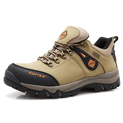 Mans Outdoor Hiking Boots Leather and Fabric Upper Rubber Outsole Five Color (KHAKI 6.5(M)US)