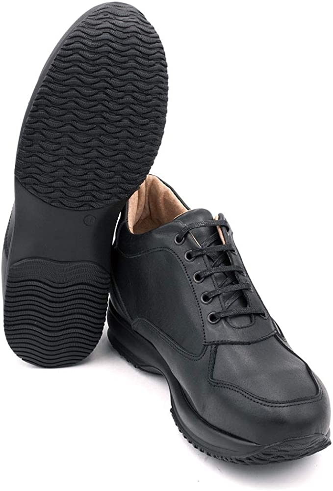 Chaussures Réhaussantes pour Homme avec Semelle Augmentant la Taille Jusqu'À 7cm. Fabriquées en Peau. Modèle Alpino Noir
