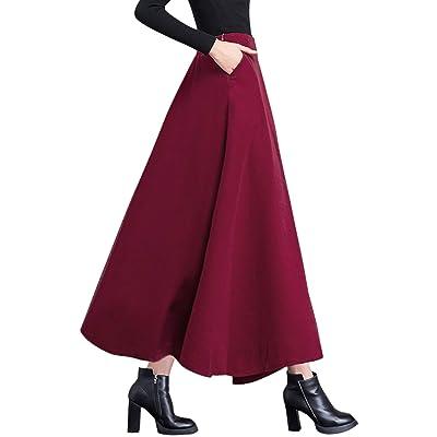 chouyatou Women's Fall Winter A-Line Swing Pleated Long Maxi Wool Skater Skirt at Women's Clothing store