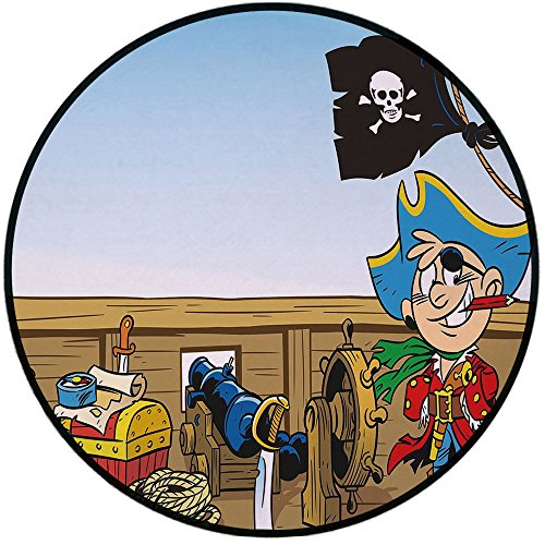 Water Mens Journey (Printing Round Rug,Pirate,Funny Pirate Boy Kid on Ship Deck Journey Dangerous Adventure in Unknown Waters Decorative Mat Non-Slip Soft Entrance Mat Door Floor Rug Area Rug For Chair Living Room,Multic)