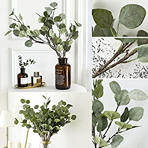 Artificial Greenery Stems 6 Pcs Straight Silver Dollar Eucalyptus Leaf Silk Greenery Bushes Plastic Plants Floral Greenery Stems for Home Party Wedding Decoration 2