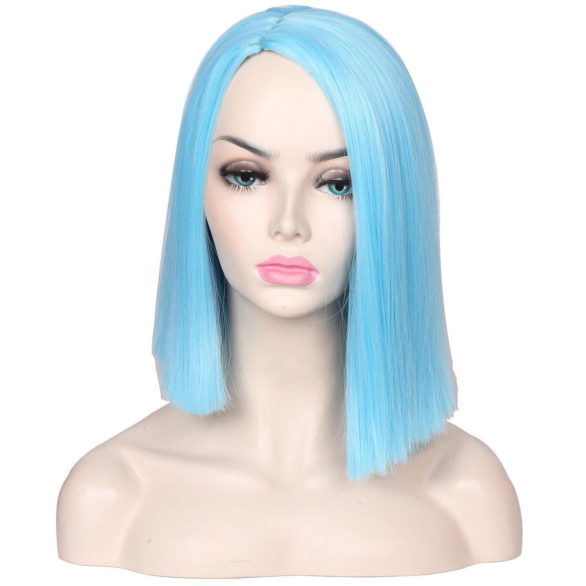 ColorGround Medium Long Straight Light Blue Part Splited Cosplay Wig