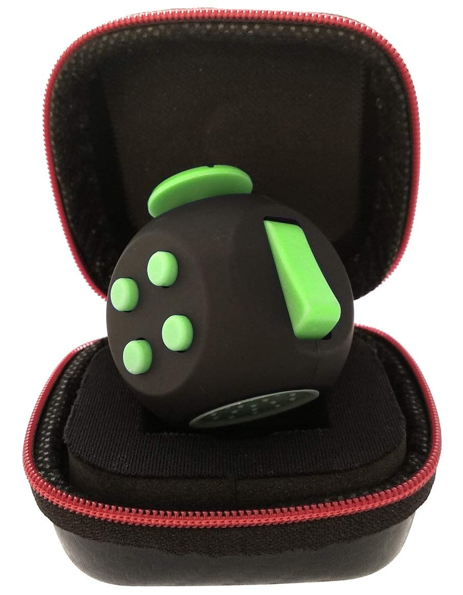 PILPOC theFube Fidget Cube - Premium Quality Fidget Cube Ball with Exclusive Protective Case, Stress Relief Toy (Black & Green) by PILPOC