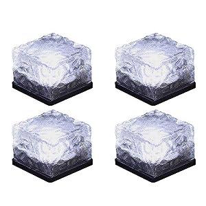 Horing Solar Glass Brick Light - Solar Ice Cube LED Light - Crystal Brick Stone Lamp Garden Courtyard Pathway Patio Pool, Decorative Christmas Festives Ice Rock Cube Lights (4PCS White)