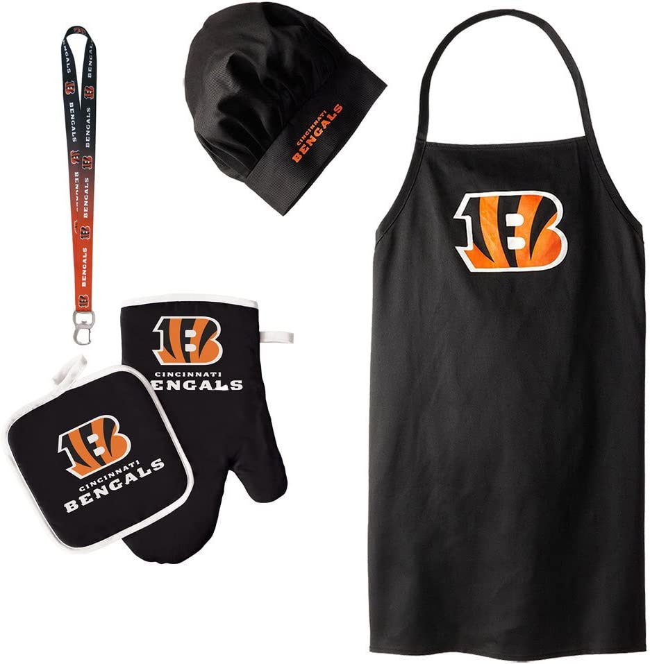 Pro Specialties Group Cincinnati Bengals NFL Barbeque Apron and Chef's Hat and Oven Mitt with Bottle Opener