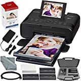 Canon SELPHY CP1300 Compact Photo Printer (Black) with WiFi and Accessory Bundle w/ Canon Color Ink and Paper Set + Case + More