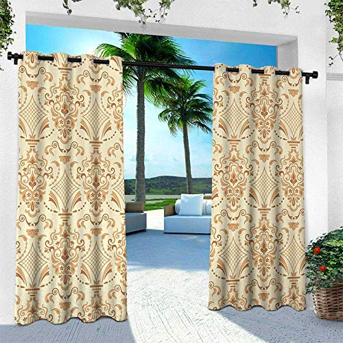Hengshu Beige, for Front Porch Covered Patio Gazebo Dock Beach Home,Victorian Patterns in Retro Style Antique Classical Old World Motifs Mod Artprint, W120 x L108 Inch, Sand Beige