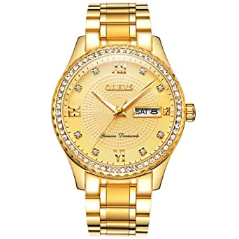 5ac7122c757 Men s Luxury Gold Diamond Watches with Day Date Calendar Waterproof  Stainless Steel Band Watch on Sale