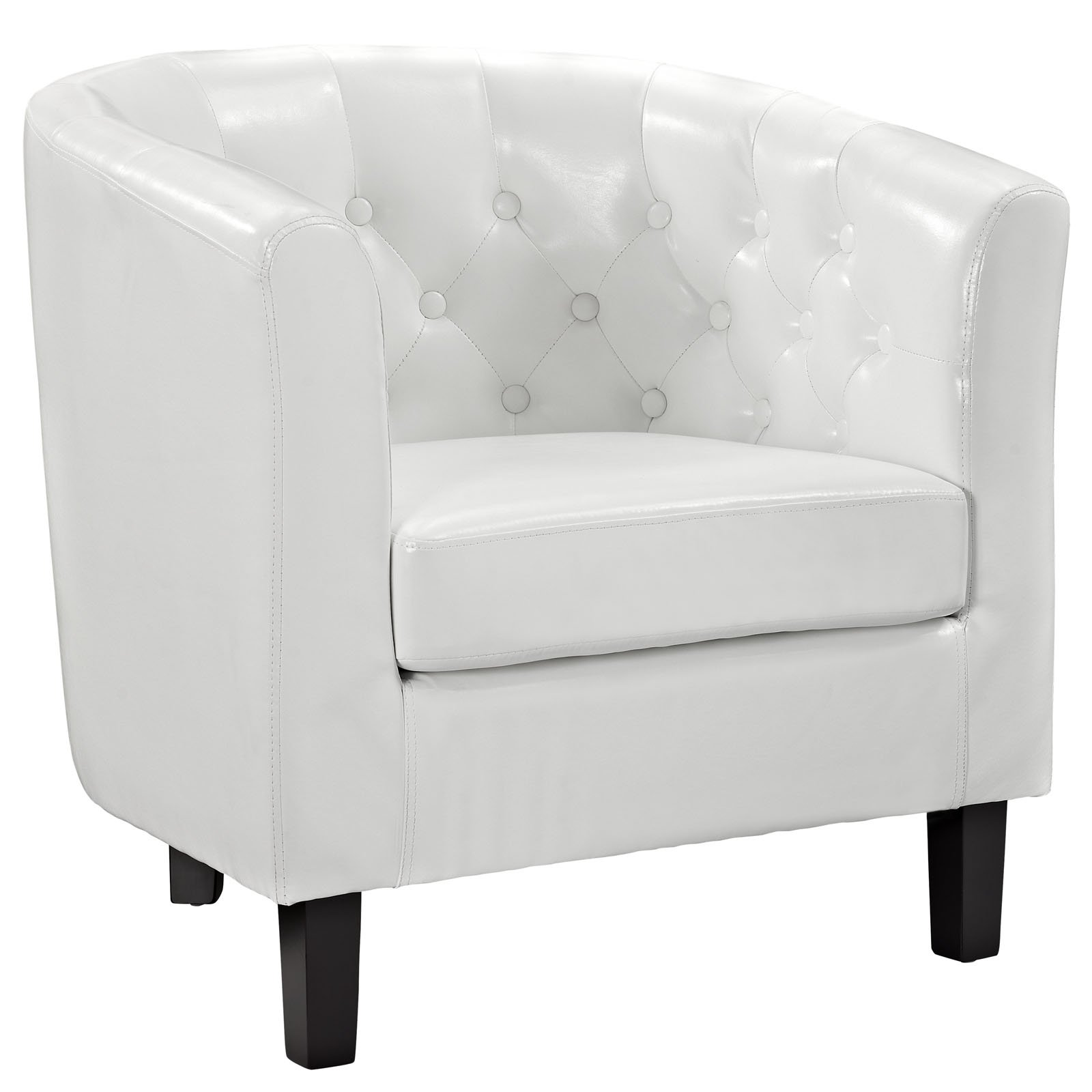 Modway Prospect Upholstered Contemporary Modern Armchair In White Faux Leather