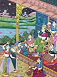14'' x 11'' Antique Mughal Dance Scene Matted Painting Old Urdu Leaf Paper 677