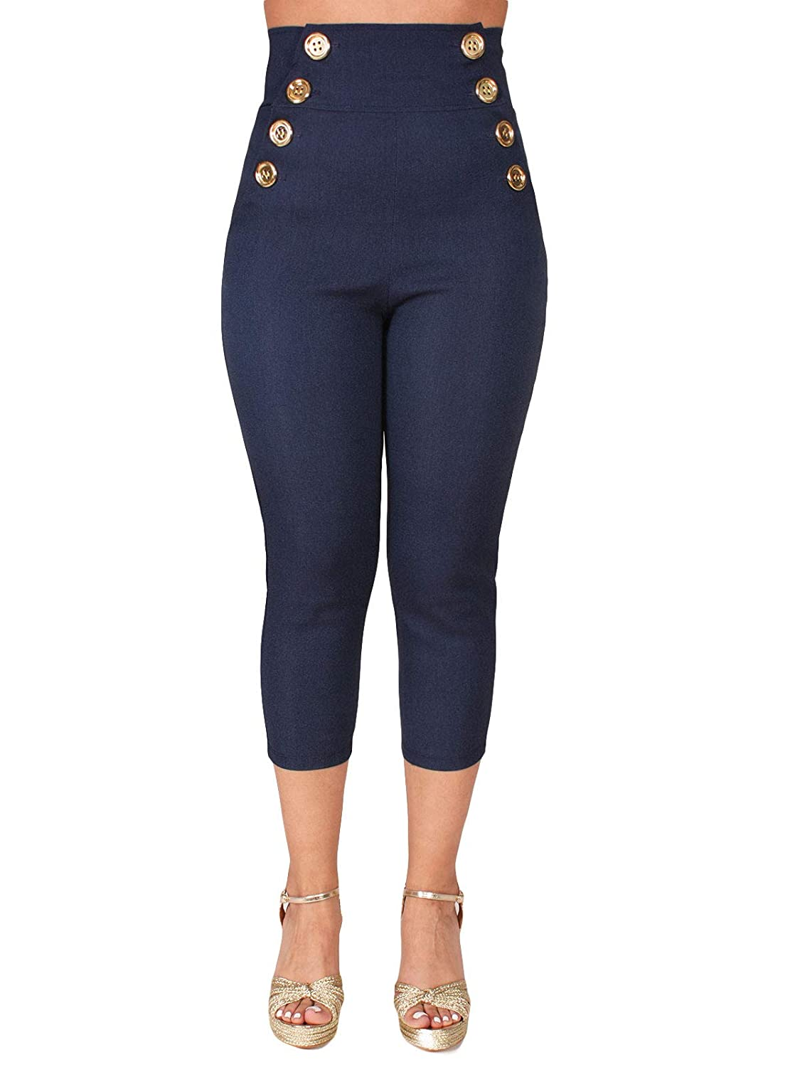 Women's Sailor Button High Waist Nautical Navy Denim Capri Pants