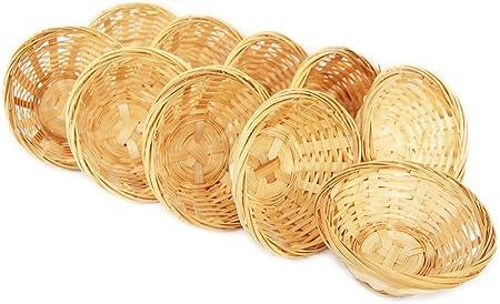 Lashuma - Juego de 10 cestas de bambú decorativas vacías (10 x 4 cm)