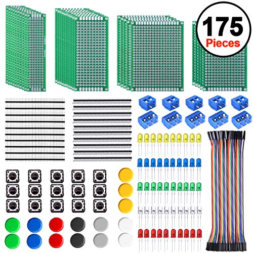 SIQUK 30 Pcs PCB Board with 60 Pcs Led Diodes 20 Pcs Header Connector and 40 Pcs Jumper Wire 10 Pcs Screw Terminal Block and 15 Pcs Tactile Cap Switch