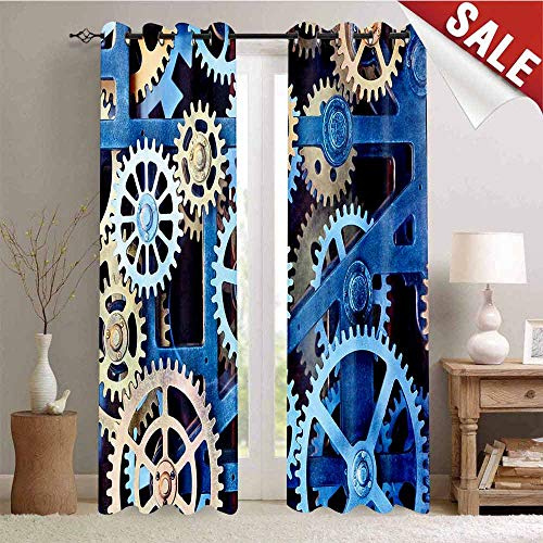 (Hengshu Thermal Insulating Blackout Curtain A Set of Clock Gears Steel Cogwheels Pattern Mechanical Theme Design Print Blackout Draperies for Bedroom W72 x L96 Inch Blue and Sand)