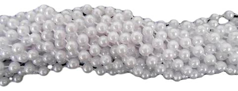 33 inch 7.5mm Round Pearl White Mardi Gras Beads - 6 Dozen (72 necklaces) Mardi Gras Spot 6D7533PW