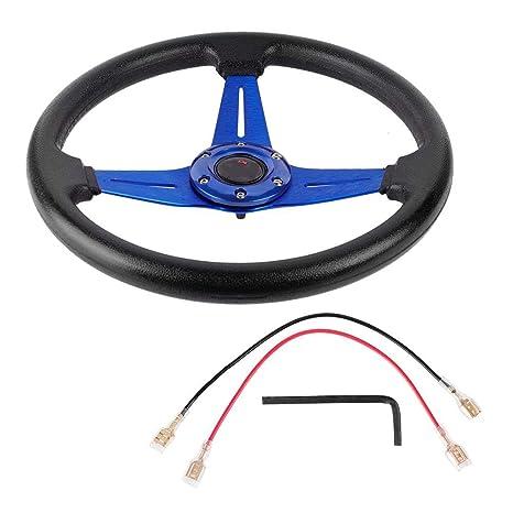 350mm Universal PU Leather Car Sport Racing Drift Steering Wheel Blue EBTOOLS Universal Steering Wheel