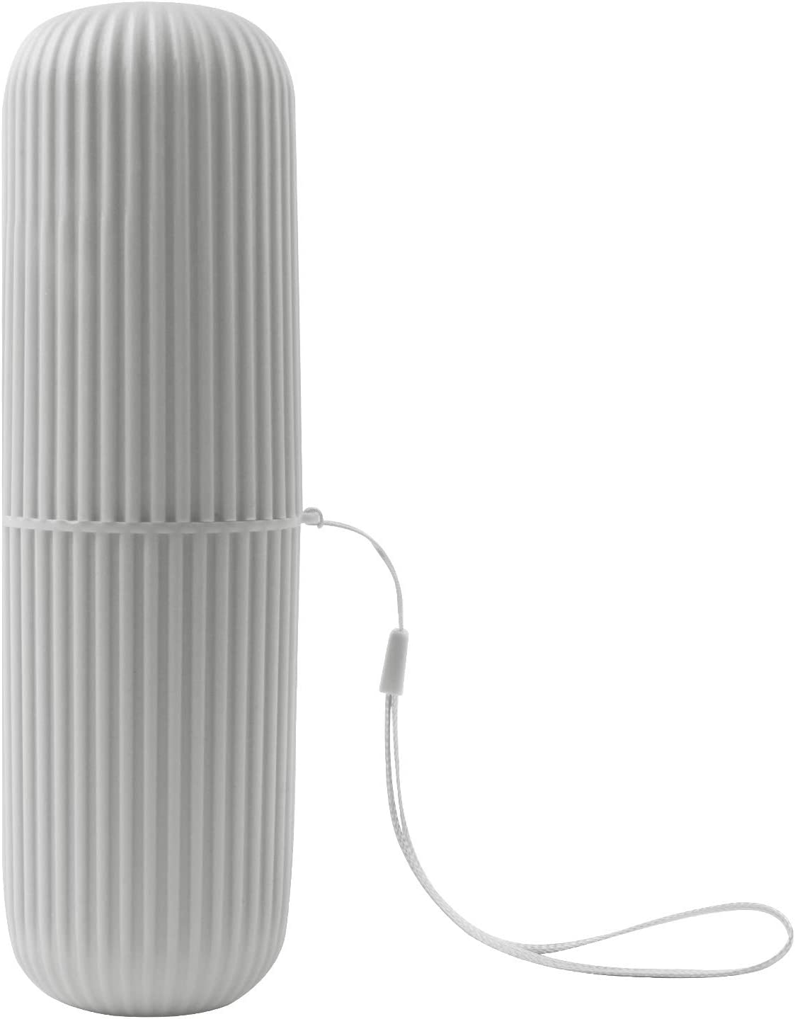 Travel Toothbrush Case, Toothbrush Holder Plastic Storage Box Toothpaste Container Portable Wash Cup with Picking Sling for Business Trips and Daily Us(Grey)