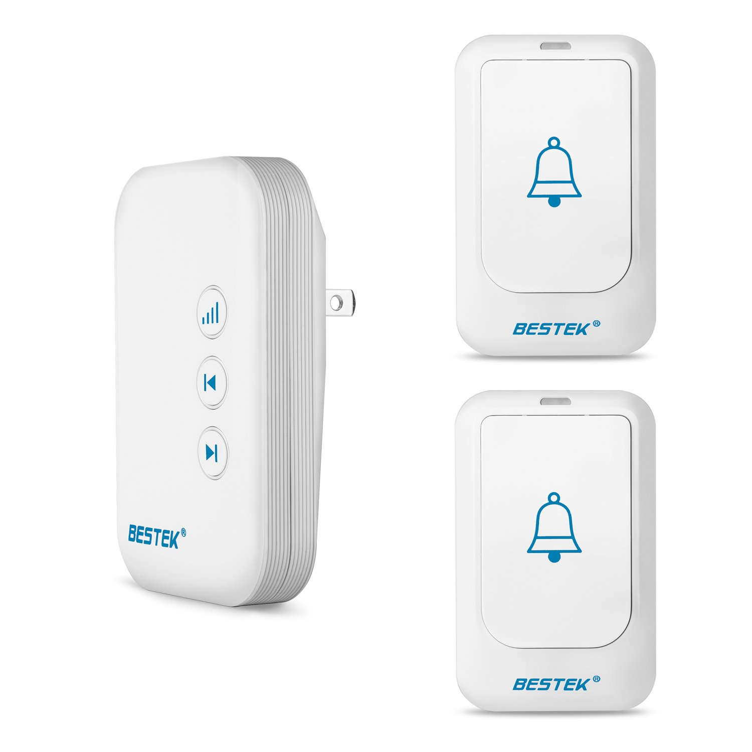 BESTEK Wireless Doorbell, Doorbell Kit Operating at over 500-feet Range with 2 Remote Buttons and 1 Plugin Receiver, LED Flash Lights, 36 Chimes for Home and Office (FCC Certification)-White