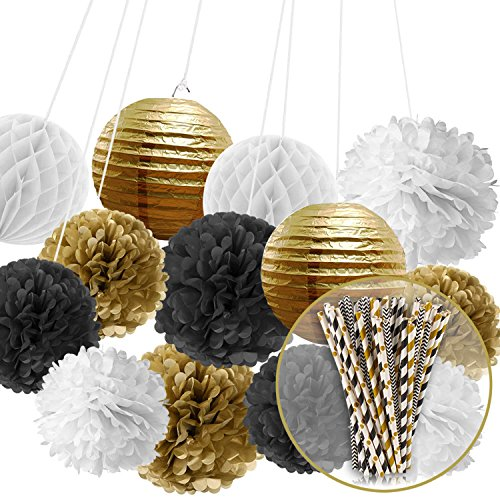Paxcoo Black and Gold Tissue Paper Pom Poms Lanterns and Paper Straws for Birthday Wedding Party Decorations (30th Birthday Party Themes)