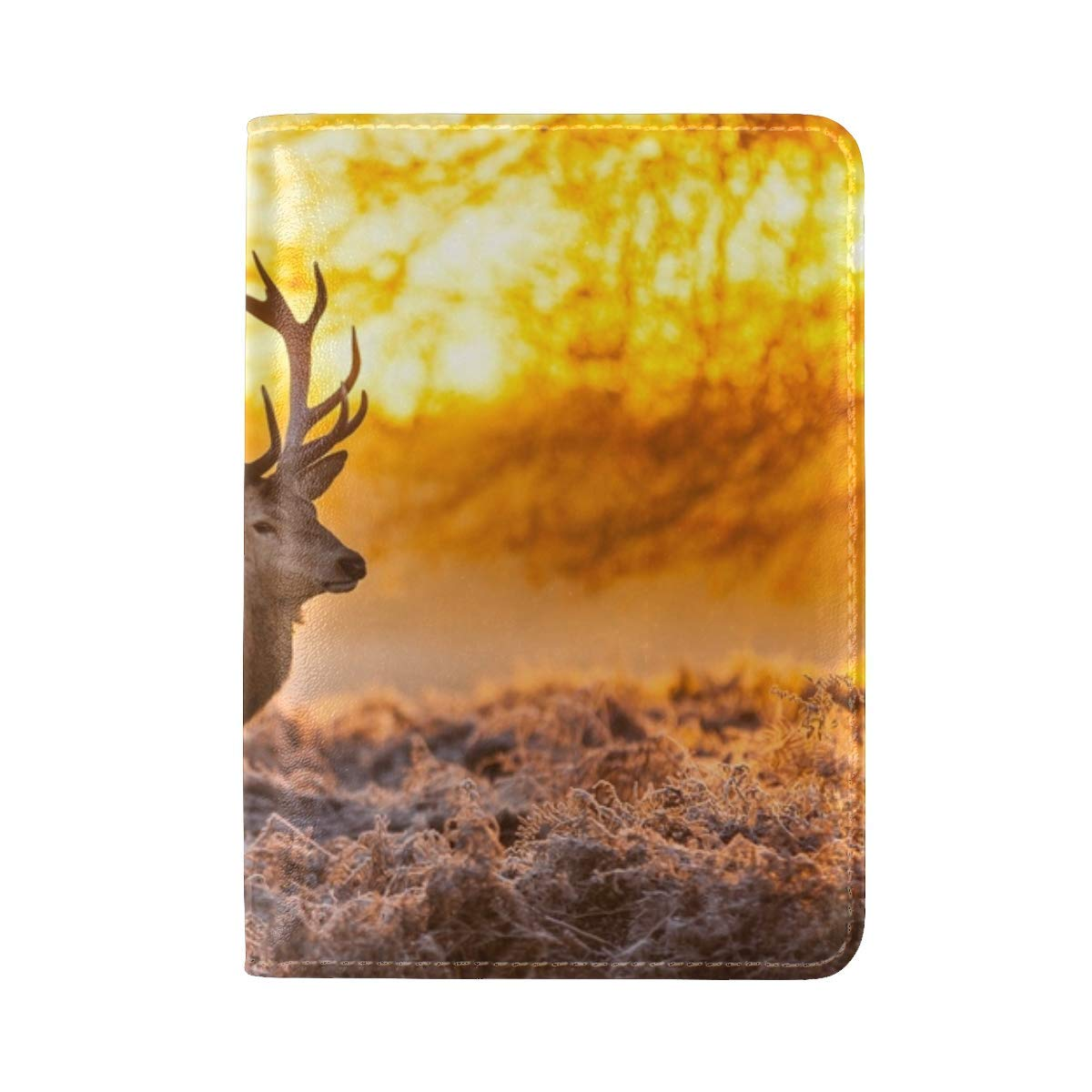 Deer Frost Grass Sunset Nature Leather Passport Holder Cover Case Travel One Pocket