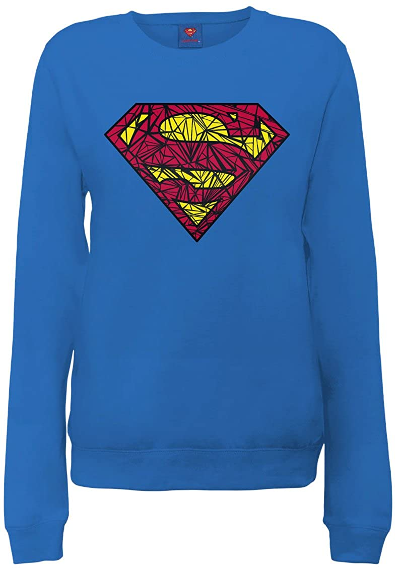 DC Comics Official Superman Shatter Logo Womens Sweatshirt - Sudadera Mujer DC0003061