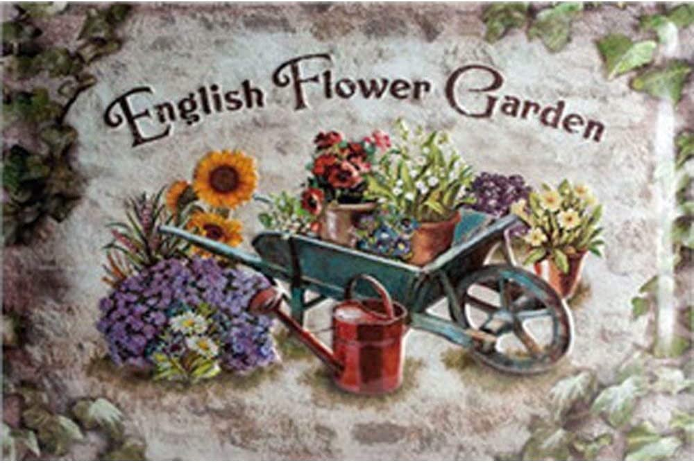 Poeni Vintage English Flower Garden Metal Sign Home Garden Yard Retro Rustic Metal Tin Sign Pub Wall Deor Art 12x8 Inches (30x20cm)
