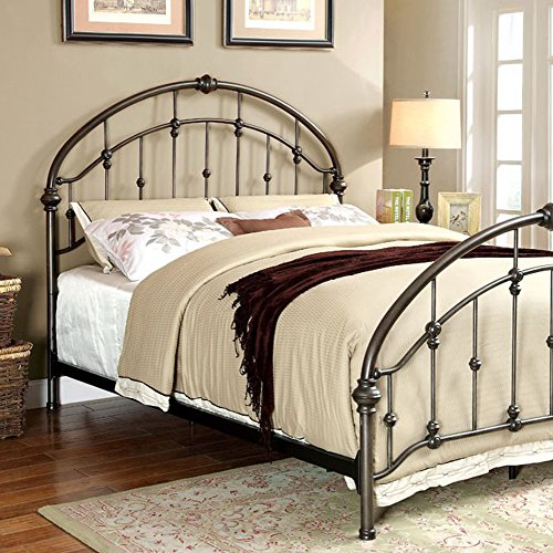 Benzara BM123789 Eastern King Bed with Rope Knot Detailing, Bronze
