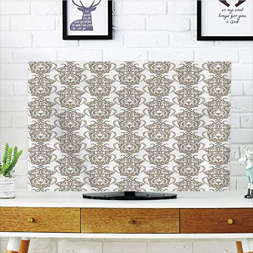 Damask Flush (LCD TV dust Cover Strong Durability,Taupe,Baroque Victorian Floral Lily Damask Ornate Pattern Antique Vintage Old Fashioned,Taupe White,Picture Print Design Compatible 32