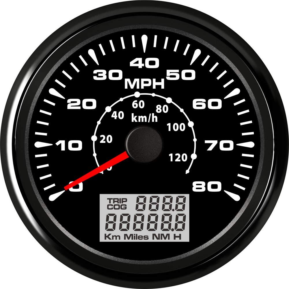 BLUERICE 7 Backlight Universal GPS Speedometer 0-120Km//h 0~80MPH 85MM GPS Speed Odometers Speed Gauges Indicators