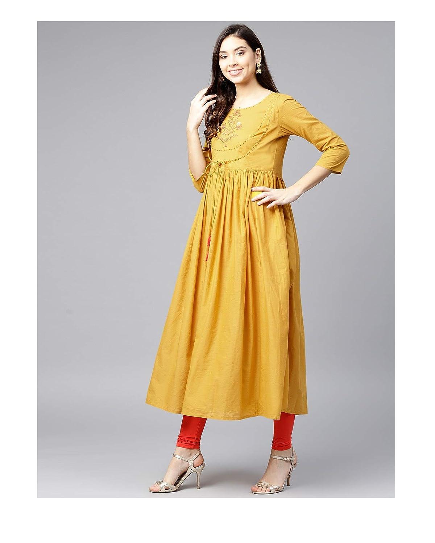 8ae2cb824faa3 Amazon.com: Hiral Designer mall Indian Womens Mustard Yellow Solid A ...