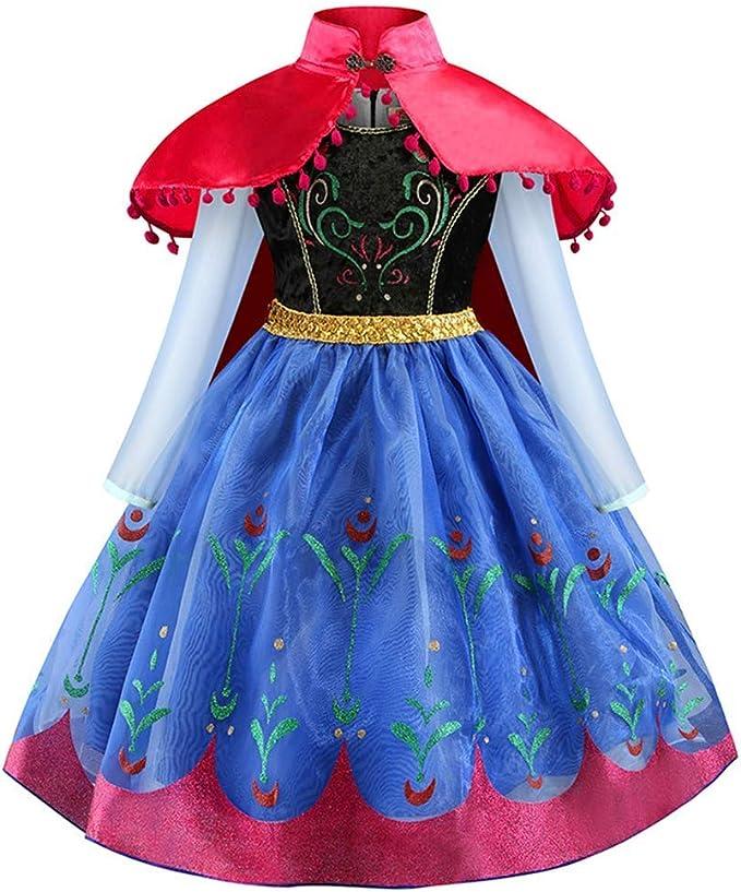 IWEMEK Disfraz Anna Frozen Niña Vestido de Princesa Ana con Capa ...