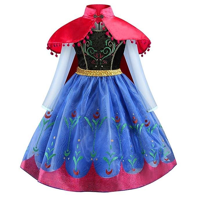 Disfraz Anna Frozen Niñas con Capa Princesa Ana Vestido ...