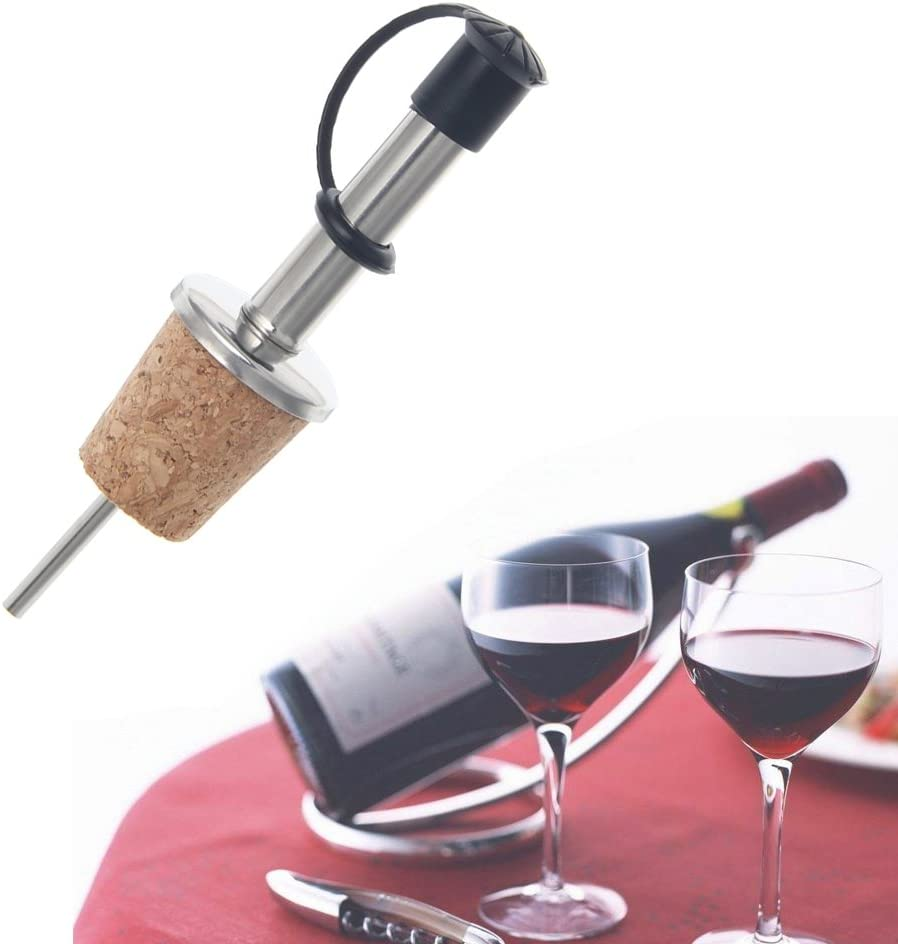 Jenor en acier inoxydable Vin verseur Bouteille dhuile vinaigre Bec//en li/ège naturel