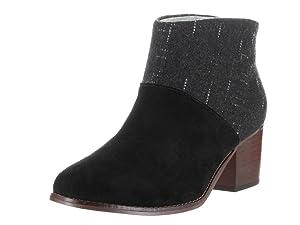 Toms Women's Vachetta Leather Leila Booties Sandstorm Black Suede/Dotted Wool 9 B(M) US