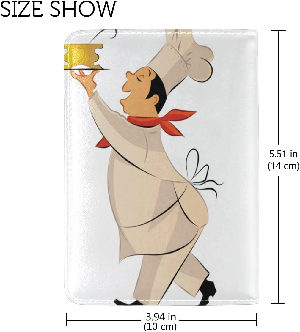 LEISISI Cartoon Chef Genuine Real Leather Passport Holder Cover Travel Case
