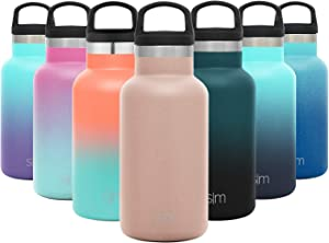 Simple Modern 12oz Ascent Water Bottle - Stainless Steel Hydro w/Handle Lid - Pink Double Wall Tumbler Flask Vacuum Insulated Small Reusable Metal Leakproof Kids -Rose Gold