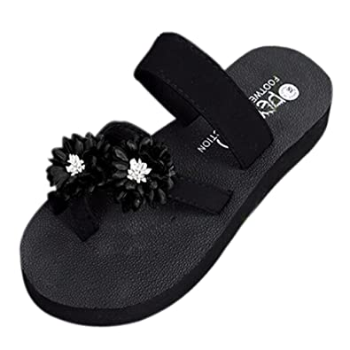 ca523f7396583 Sonnena Platform Flip Flops Wedge Rose Sandals Roman Summer Clip Toe Beach  Shoes for Women Girls